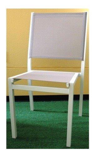 Sedia in alluminio senza braccioli fluorite bianco tortora