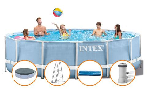 Piscina fuoriterra INTEX PRISM Metal Frame 26736 PROFESSIONALE rotonda 457x122cm + pompa filtro scaletta teli ex 28736