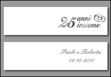 Set 5 biglietti bomboniera nozze argento personalizzato