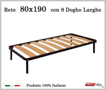 Rete a 8 doghe larghe in faggio Singola da Cm 80x190 cm. 100% Made in Italy