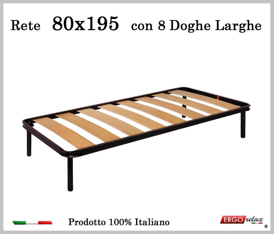Rete a 8 doghe larghe in faggio da Cm 80x195 cm. 100% Made in Italy