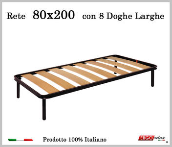 Rete a 8 doghe larghe in faggio da Cm 80x200 cm. 100% Made in Italy