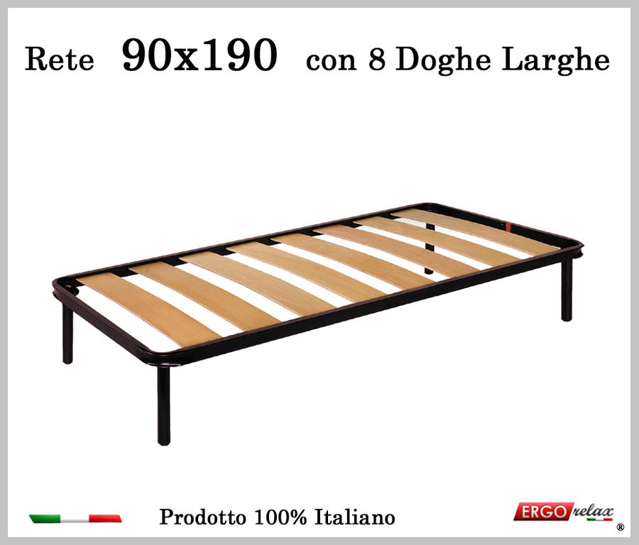 Rete a 8 doghe larghe in faggio da Cm 90x190 cm. 100% Made in Italy