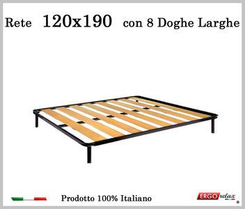 Rete a 8 doghe larghe in faggio una Piazza e Mezzo da 120x190 cm. 100% Made in Italy