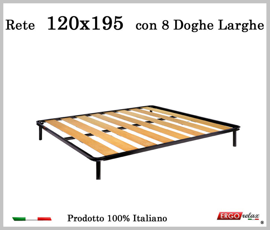 Rete a 8 doghe larghe in faggio da Cm 120x195 cm. 100% Made in Italy