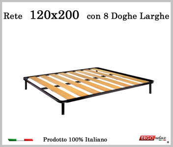 Rete a 8 doghe larghe in faggio da Cm 120x200 cm. 100% Made in Italy