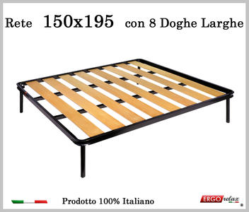 Rete a 8 doghe larghe in faggio da Cm 150x195 cm. 100% Made in Italy