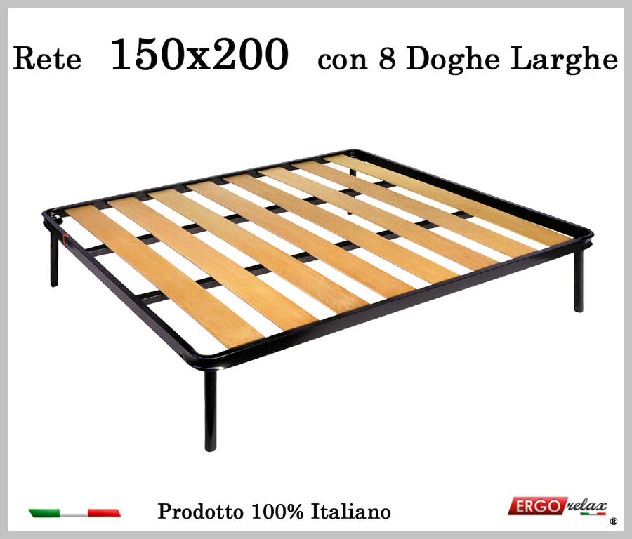 Rete a 8 doghe larghe in faggio da Cm 150x200 cm. 100% Made in Italy