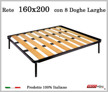 Rete a 8 doghe larghe in faggio da Cm 160x200 cm. 100% Made in Italy