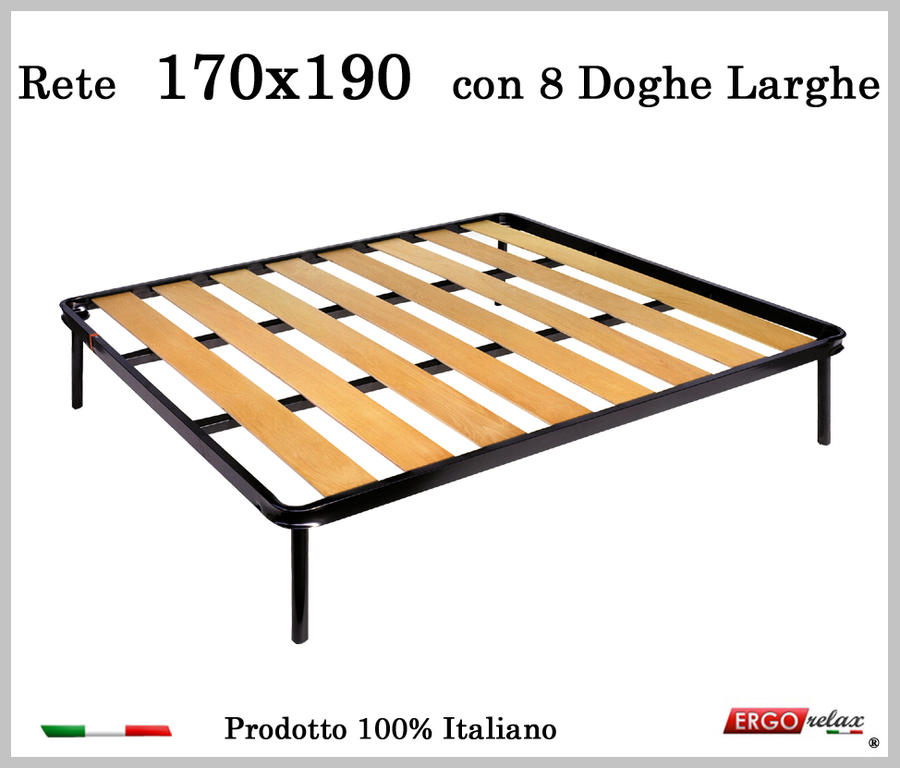 Rete a 8 doghe larghe in faggio da Cm 170x190 cm. 100% Made in Italy