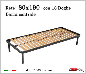 Rete per materasso a 18 doghe in faggio Con Barra Centrale Singola 80x190 cm. 100% Made in  Italy