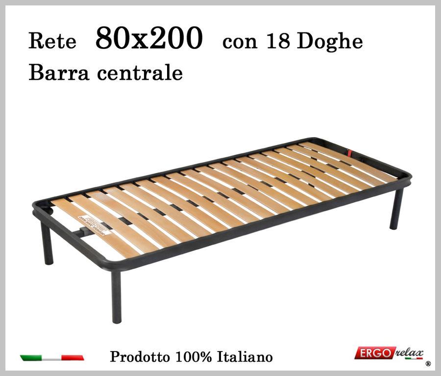 Rete per materasso a 18 doghe in faggio Con Barra Centrale 80x200 cm. 100% Made in  Italy