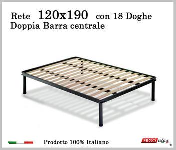 Rete per materasso a 18 doghe in faggio Con Doppia Barra Centrale 120x190 cm. 100% Made in  Italy