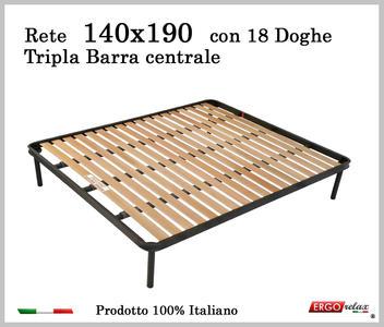 Rete per materasso a 18 doghe in faggio Con Tripla Barra Centrale 140x190 cm. 100% Made in  Italy