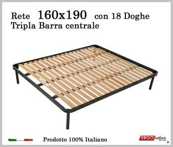 Rete per materasso a 18 doghe in faggio Con Tripla Barra Centrale Matrimoniale 160x190 cm. 100% Made in  Italy