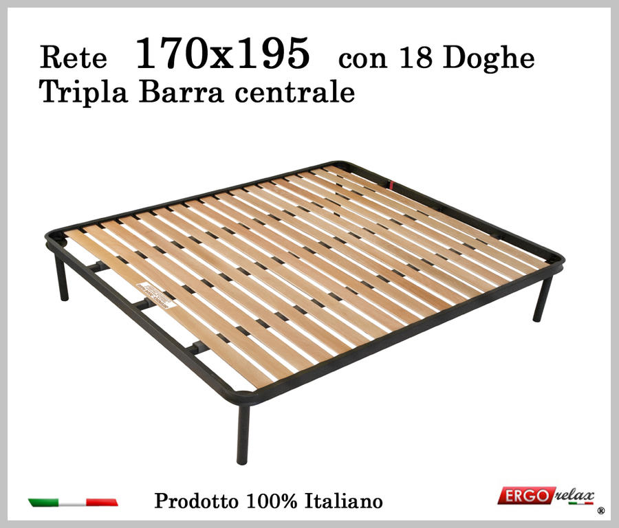 Rete per materasso a 18 doghe in faggio Con Tripla Barra Centrale 170x195 cm. 100% Made in  Italy