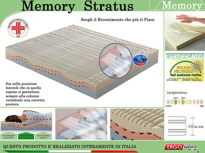 Materasso Memory Mod Stratus Singolo da Cm 80x190/195/200 Zone Differenziate con Scelta del Rivestimento - Ergorelax