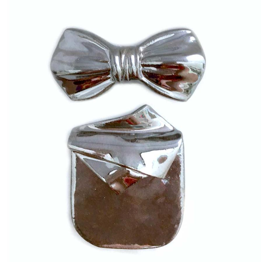 papillon e pochette grigio metallizzato