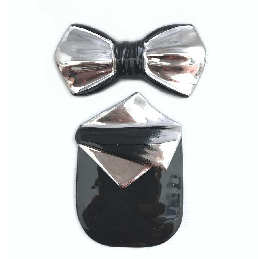 Papillon pochette in ceramica nero e platino | ceraMchic