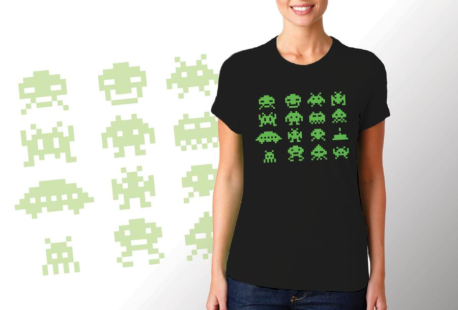 T-shirt Space Invaders/Donna