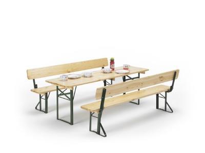 Set birreria con SCHIENALE rinforzato MADE IN ITALY ABETE sagre resistente e pesante 2 panche tavolo cm 220x80x76 h con panche
