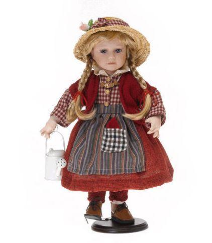 Bambola da Collezione in Porcellana con Vestito Rosso e Innaffiatoio RF Collection Qualità Made in Germany