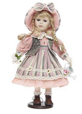 Bambola da Collezione in Porcellana con Vestito Rosa e Innaffiatoio RF Collection Qualità Made in Germany