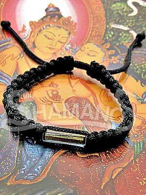 Braccialetto Buddista Nero Originale con Takrut Portafortuna contro il Malocchio