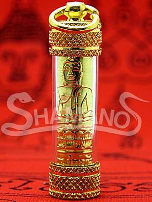 Ciondolo Sacro Buddha con Takrut Originale Arrotolato da Monaco