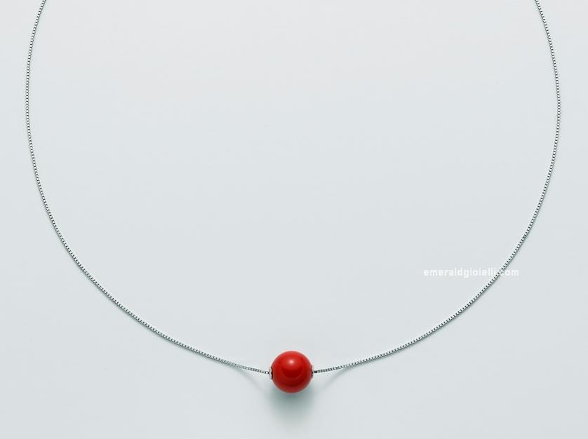 CLD3943 Girocollo Miluna con Sfera di Corallo Rosso
