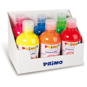 Box 6 tempera fluo 300ml colori assortiti PRIMO