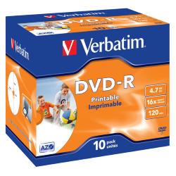 SCATOLA 10 DVD-R J.CASE 16X 4.7GB 120MIN. WIDE PHOTO STAMP INK-JET