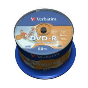 SCATOLA 50 DVD-R SPINDLE BULK 16X 4.7GB 120MIN. STAMPABILE WIDE MATT INKJET