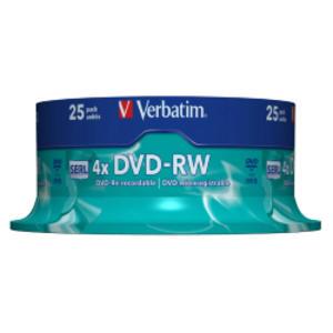 CONFEZIONE DA 25 DVD-RW SPINDLE 4X 4.7GB SUPERF.MATT SILVER SERIGRAFATA