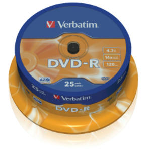 SCATOLA 25 DVD-R SPINDLE 16X 4.7GB 120MIN.SERIGRAFATO