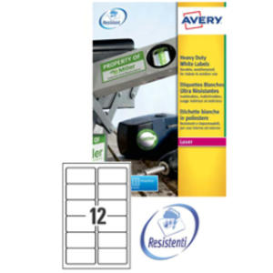 Poliestere adesivo L4776 bianco 20fg A4 99,1x42,3mm (12et/fg) laser Avery