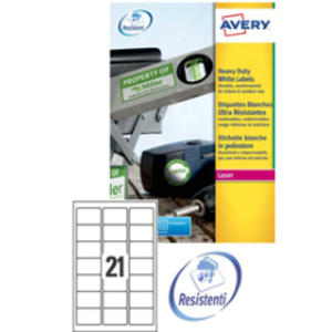 Poliestere adesivo L7060 bianco 20fg A4 63,5x38,1mm (21et/fg) laser Avery