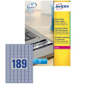 Poliestere adesivo L6008 argento 20fg A4 24,5x10mm (189et/fg) laser Avery