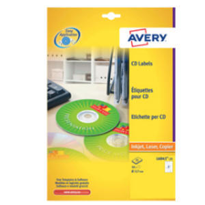 Etichetta adesiva L6043 bianca CD/DVD 25fg A4 Ø117 foroØ41mm (2et/fg) laser