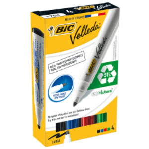 ASTUCCIO 4 MARCATORI P.TONDA Whiteboard VELLEDA® 1701 Recycled BIC®