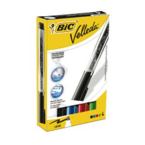 ASTUCCIO 4 MARCATORI P.TONDA Whiteboard VELLEDA® Liquid Ink Tank BIC®