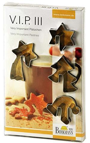 Set 4 stampi biscottini da tazza in  acciaio natalizi