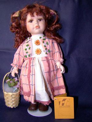 Bambola da Collezione in Porcellana con Cestino con Fiori RF Collection qualità Made in Germany