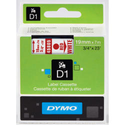 NASTRO DYMO TIPO D1 (19MMX7MT) ROSSO/BIANCO 458050