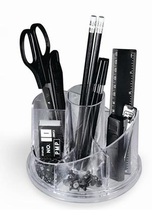 "DESK-SET GIREVOLE""PLEXY"" IN PLEXIGLAS COMPLETO DI ACCESSORI"