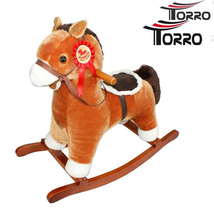 """Cavallo a Dondolo """"Brown"""" in Legno Naturale e Tessuto di Torro"""