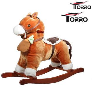 """Cavallo a Dondolo """"Con Borsa e Carota"""" in Legno Naturale e Tessuto di Torro"""