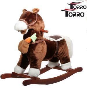 """Cavallo a Dondolo """"Con Borsa e Carota"""" in Legno Naturale e Tessuto Colore Marrone Movimento Bocca di Torro"""