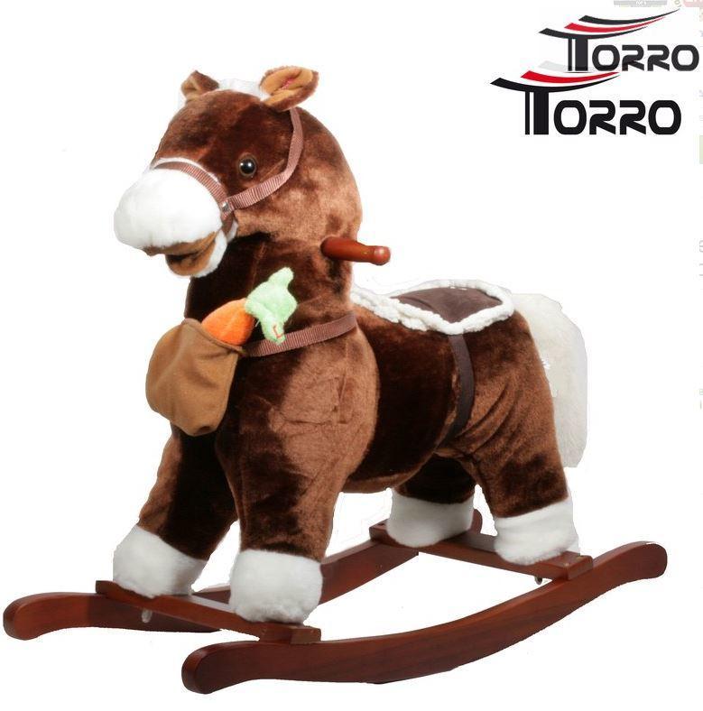Borsa Cavallo A Dondolo.Cavallo A Dondolo Con Borsa E Carota In Legno Naturale E Tessuto Colore Marrone Movimento Bocca Di Torro