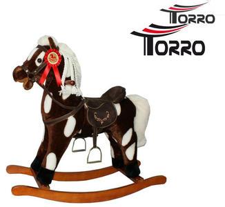 """Cavallo a Dondolo """"Brown"""" in Legno Naturale e Tessuto Colore Marrone e Bianco Movimento Bocca di Torro"""